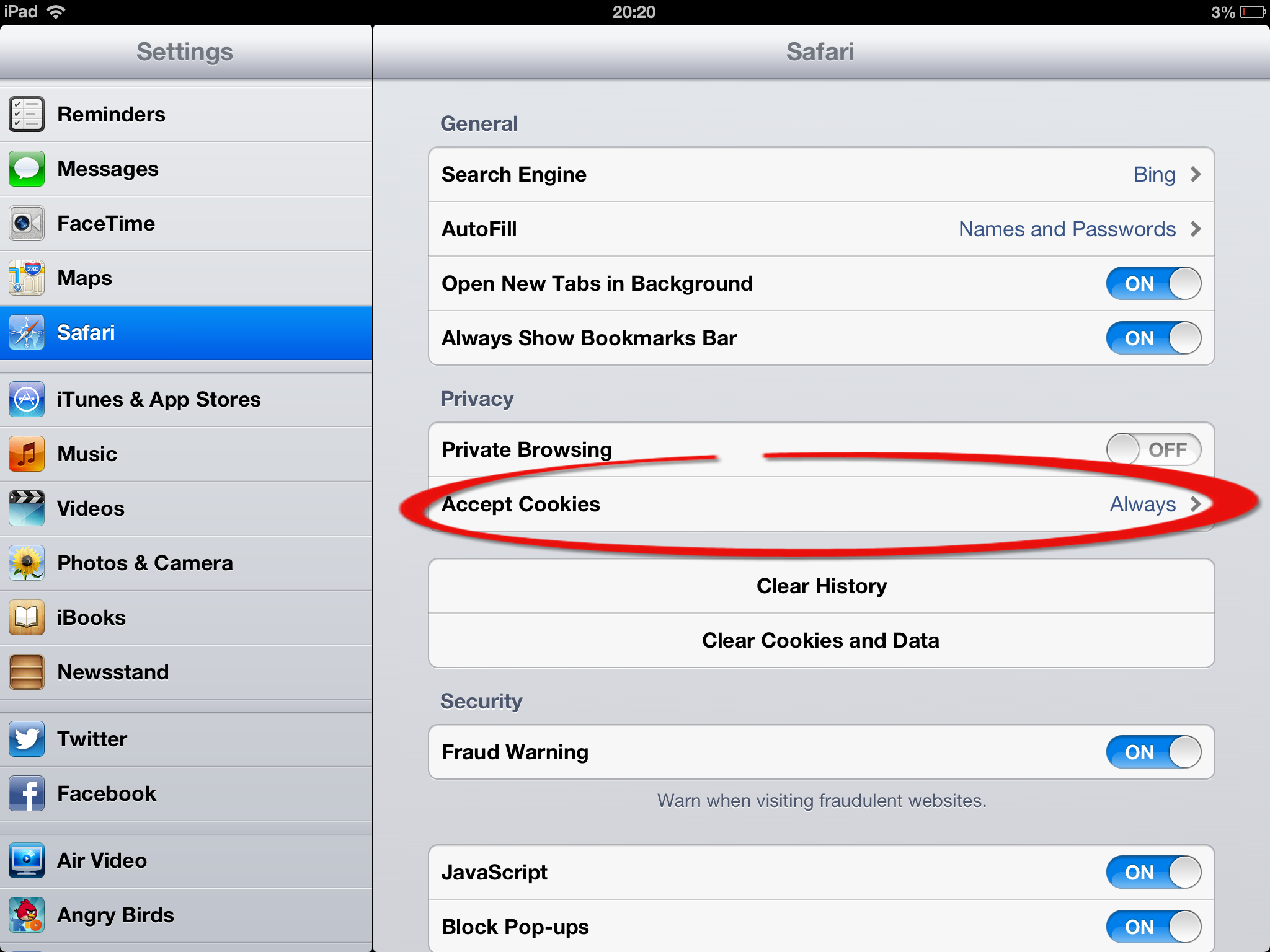 Settings €�  Safari €�  Privacy→ Accept Cookies And Selecting Always  (screenshot)